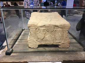 An artifact found in the synagogue of Magdala where Jesus preached.