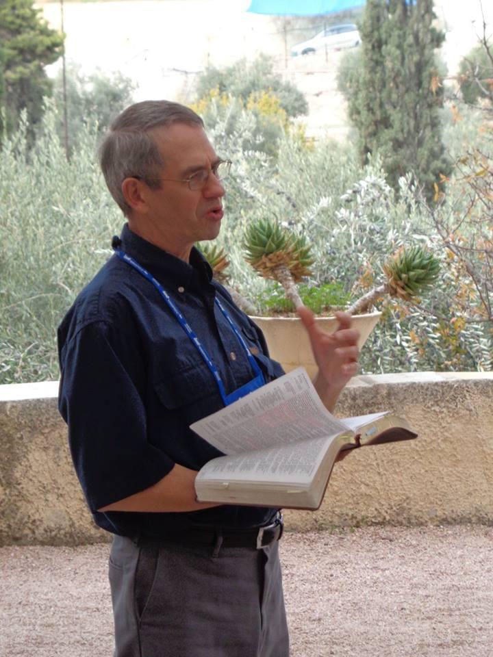 Philip teaching in the Garden of Gethsemane